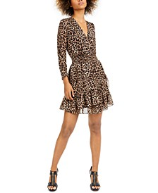 Smocked Leopard-Print Dress