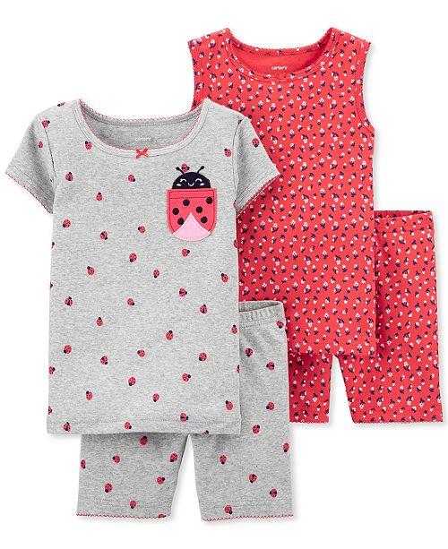 Carter's Baby Girls 4-Pc. Ladybug-Print Cotton Pajamas Set