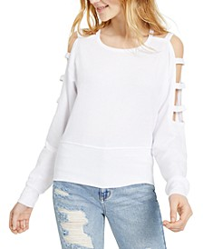 Juniors' Caged Cold-Shoulder Sweatshirt