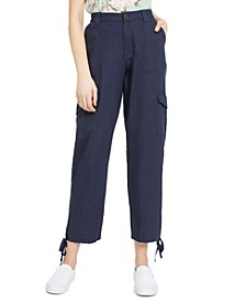 Juniors' Cropped Tie-Ankle Cargo Pants