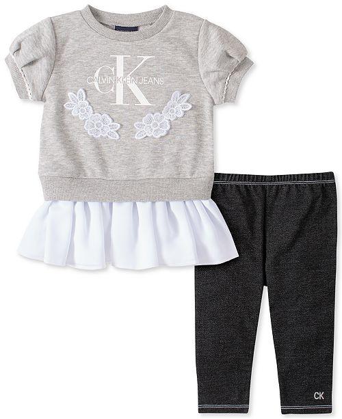 Calvin Klein Baby Girls 2-Pc. Logo Peplum Top & Jeggings Set