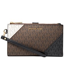 Signature Double Zip Wristlet