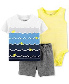 Baby Boys 3-Pc. Ocean Waves Cotton Bodysuit, T-Shirt & Shorts Set