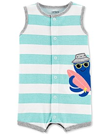 Baby Boys Striped Octopus Cotton Romper