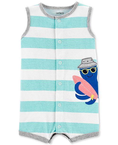 Carter's Baby Boys Striped Octopus Cotton Romper