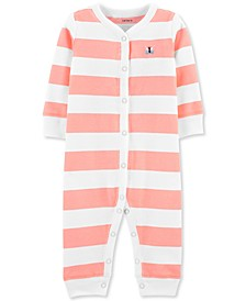 Baby Girls 1-Pc. Striped Butterfly Cotton Sleep & Play