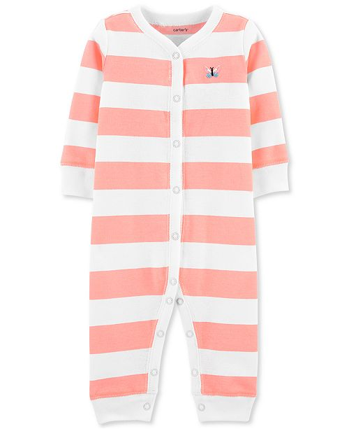 Carter's Baby Girls 1-Pc. Striped Butterfly Cotton Sleep & Play