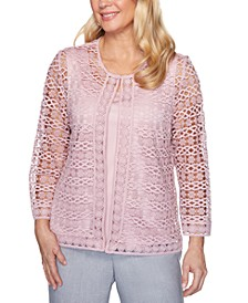 Primrose Garden 2-For-1 Lace 3/4-Sleeve Top