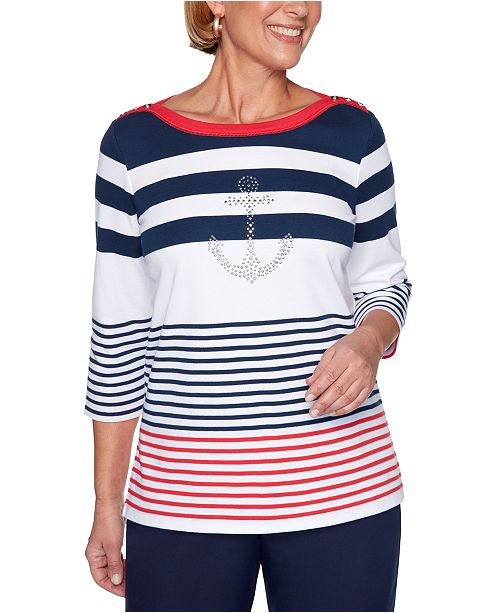 Alfred Dunner Ship Shape Striped Anchor-Embellished Knit Top