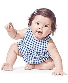 Baby Girls 3-Pc. Cotton Bodysuit & Gingham-Print Top & Shorts Set
