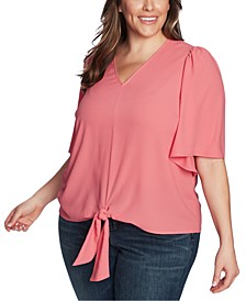 Trendy Plus Size Flounce-Sleeve Tie-Front Top