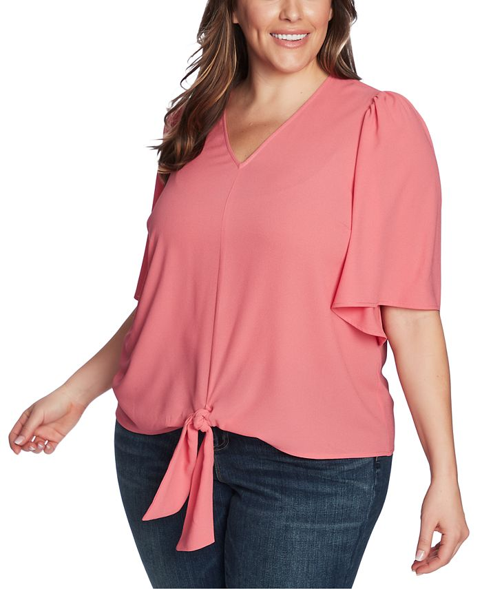 1.STATE - Trendy Plus Size Flounce-Sleeve Tie-Front Top