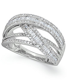 Classique by EFFY Diamond Crossover Ring in 14k White Gold (1 ct. t.w.)