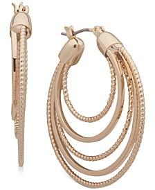 "Gold-Tone Medium Multi-Ring Hoop Earrings, 1-2/5"""