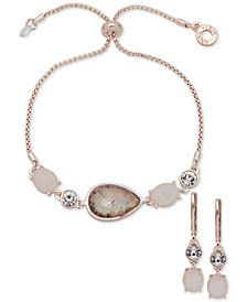 Multicolor Stone Drop Earrings & Slider Bracelet Set