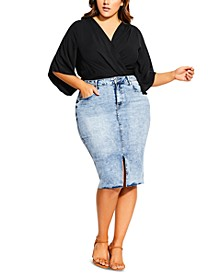 Trendy Plus Size Fitted Denim Skirt