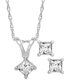 Princess-Cut Diamond Pendant Necklace and Earrings Set in 10k White Gold (1/10 ct. t.w.)