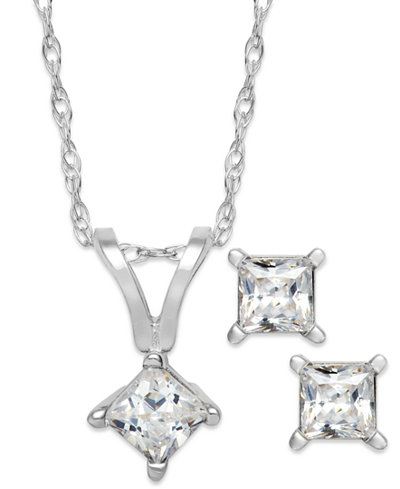 Princess-Cut Diamond Pendant Necklace and Earrings Set in