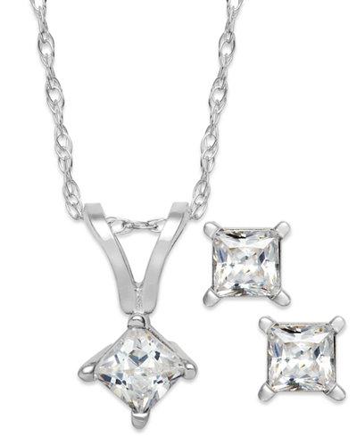 Princess cut diamond pendant necklace and earrings set in 10k princess cut diamond pendant necklace and earrings set in 10k white gold 1 aloadofball Gallery