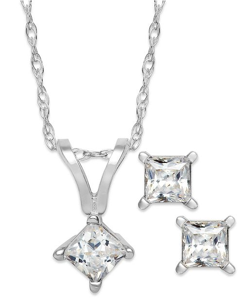 Princess Cut Diamond Pendant Necklace And Earrings Set In 10k White Gold 1 10 Ct T W