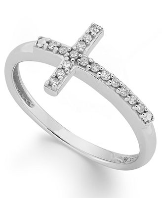 sideways cross ring in 10k white gold 1 10 ct t
