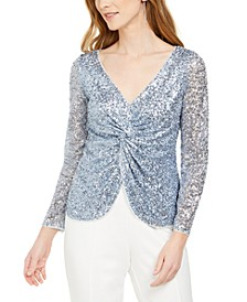 Petite Sequinned Twist-Front Top
