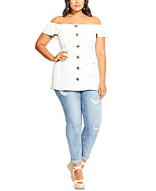 Trendy Plus Size Sweety Button Top