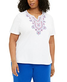 Plus Size Laguna Beach Embroidered Top