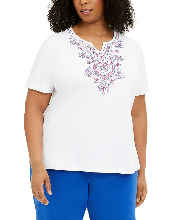 Alfred Dunner Plus Size Laguna Beach Embroidered Top