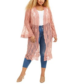 Trendy Plus Size Lace Duster Cardigan
