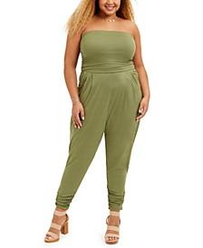 Trendy Plus Size Ruched-Ankle Jumpsuit