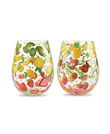LOLITA Tutti Fruiti Stemless Wine Glass Set