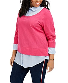 Plus Size Layered-Look Shirt