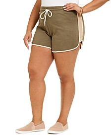 Trendy Plus Size Cotton Colorblocked Drawstring-Waist Shorts