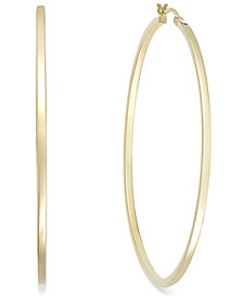 Square Tube Hoop Earrings in 14k Gold Vermeil, 60mm