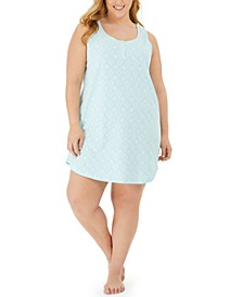 Plus Size Cotton Sleeveless Printed Sleep Shirt, Created for Macy's