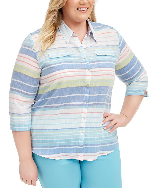 Alfred Dunner Plus Size Sea You There Striped Button-Front Top