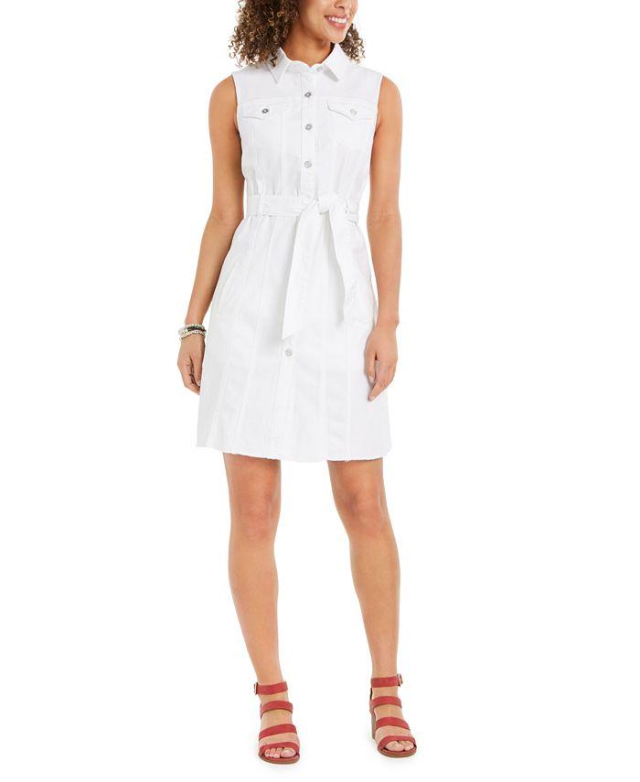 Style & Co - Belted Sleeveless Shirtdress