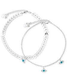 Silver-Tone 2-Pc. Set Evil Eye & Arrow Ankle Bracelets