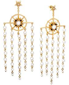 Gold-Tone Pavé & Imitation Pearl Chandelier Earrings