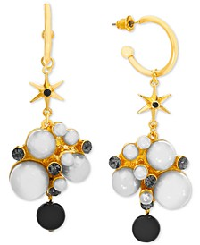 Gold-Tone Hoop, Pavé & Imitation Pearl Star Charm Drop Earrings