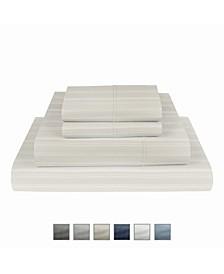 "Manhattan 1000 Thread Count Cotton Rich Wrinkle Resistant Twin Stripe Sheet 4-Piece Set, Fits Mattress Upto 17"""