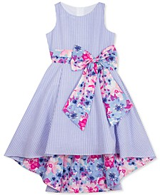 Little Girls Floral-Bow Seersucker Dress