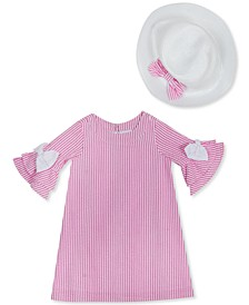 Little Girls 2-Pc. Seersucker Bell-Sleeve Dress & Hat Set