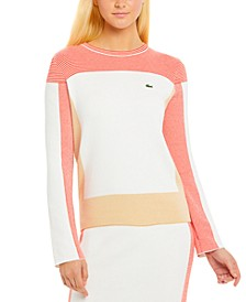 Women's Long-Sleeve Cotton-Blend Colorblocked Sweater
