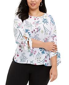 Plus Size Floral-Print Tie-Cuff Top