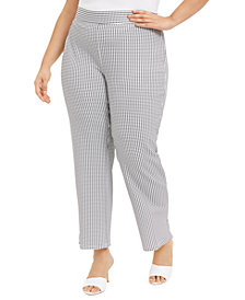Nine West Plus Size Jacquard-Print Pull-On Modern Dress Pants