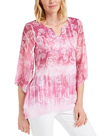 Paisley-Print Embellished Split-Neck Top, Created for Macy's
