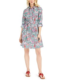 Cotton Mixed-Print Shirtdress