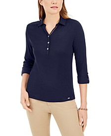 3/4-Sleeve Button Neck Shirt